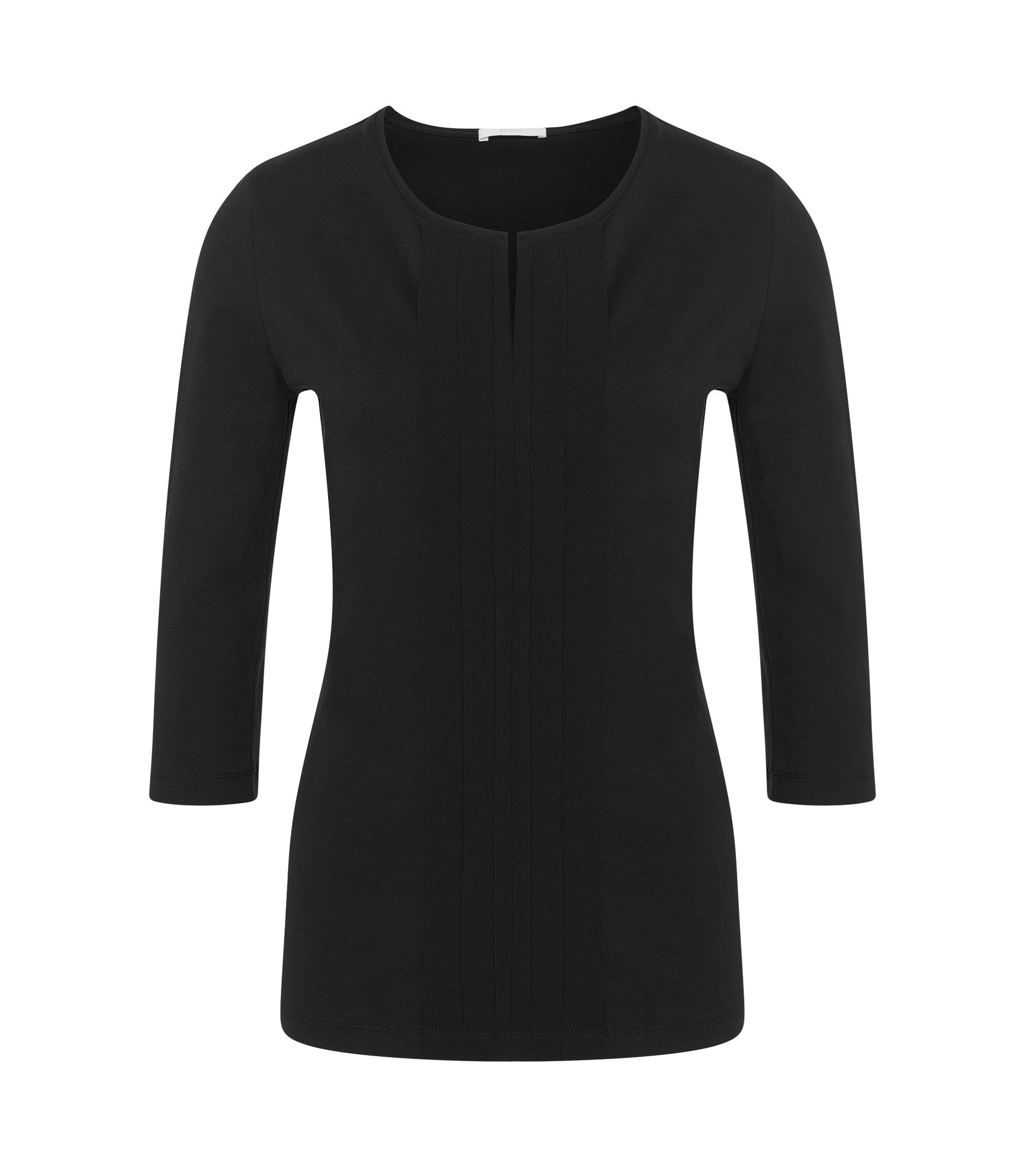 Jerseytop met plissédetail, Zwart