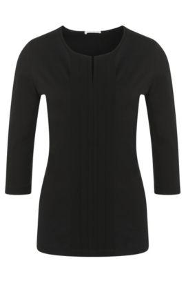 Haut en jersey orné d'un détail plissé, Noir