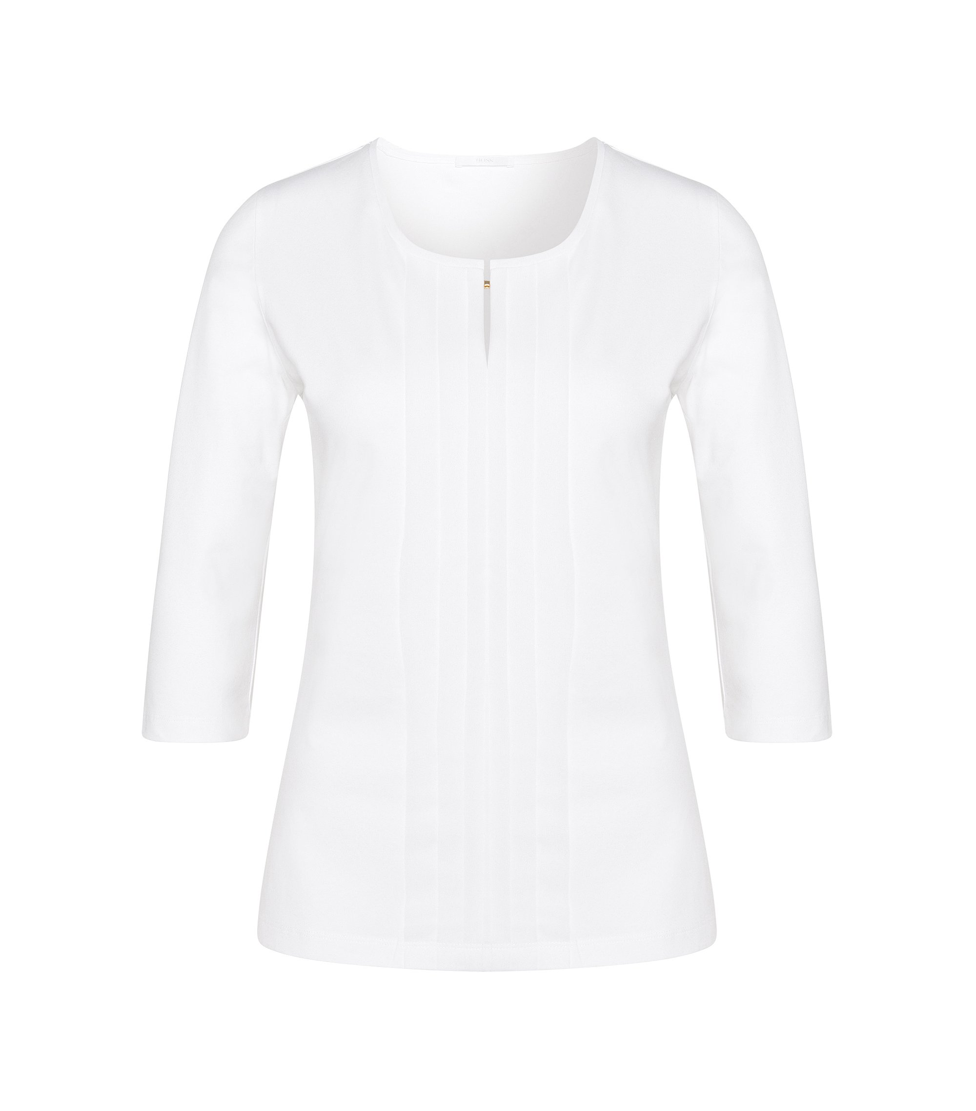 Jersey top with pleated detail, White