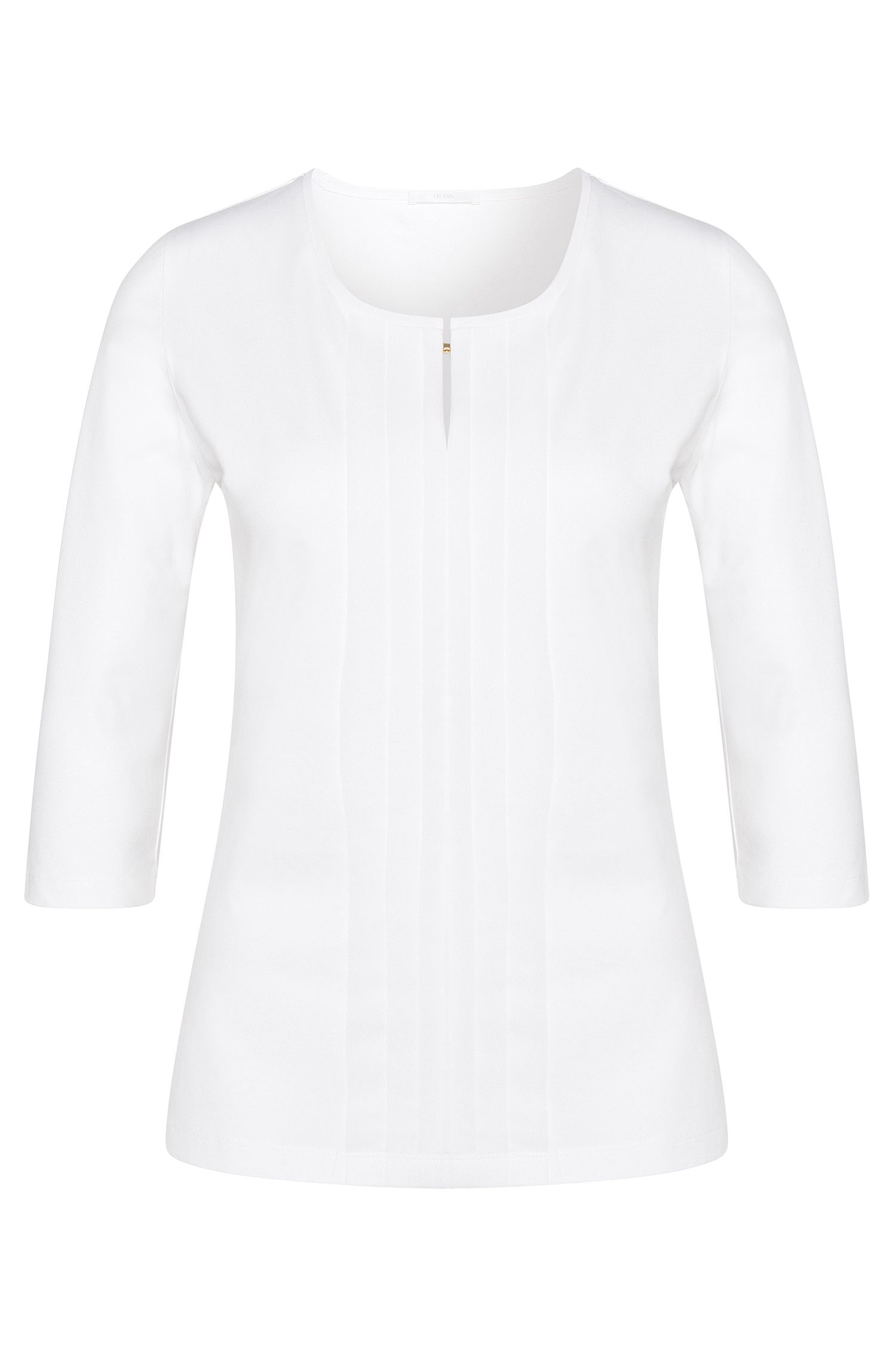 Jersey top with pleated detail