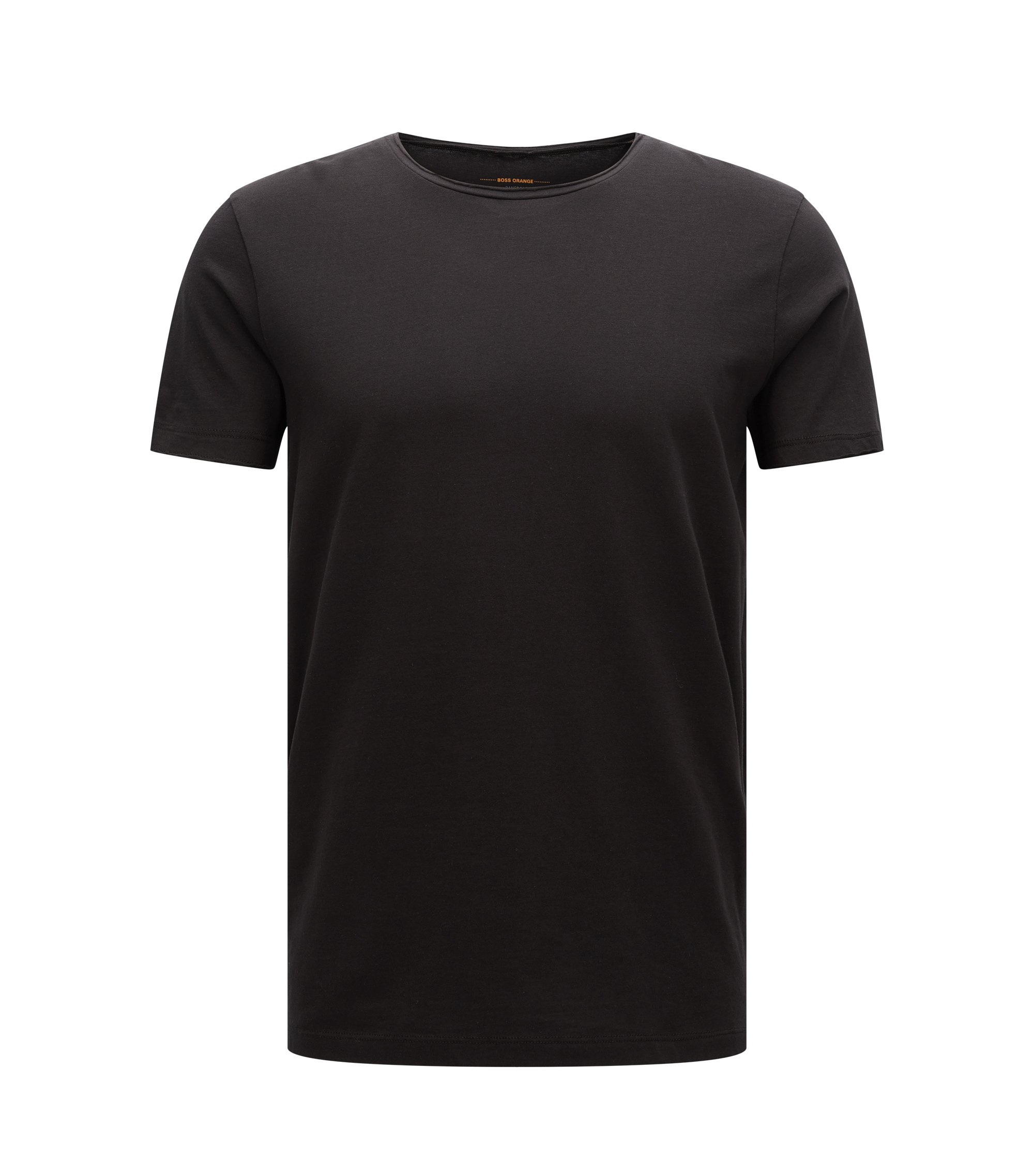 Regular-fit T-shirt with raw-cut detail, Black