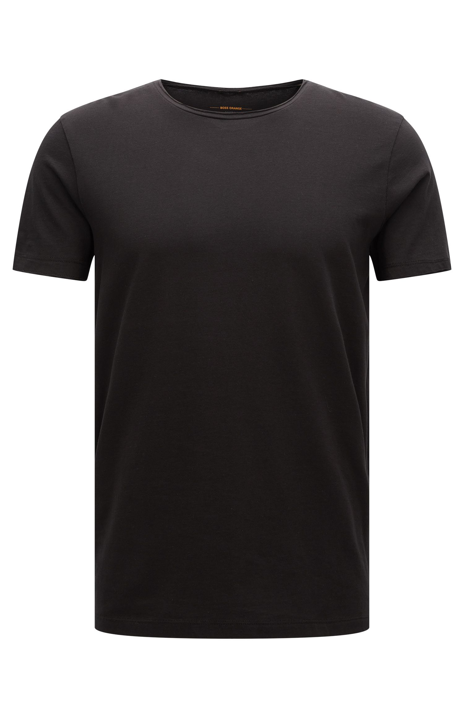 T-shirt regular fit con finitura a taglio vivo, Nero