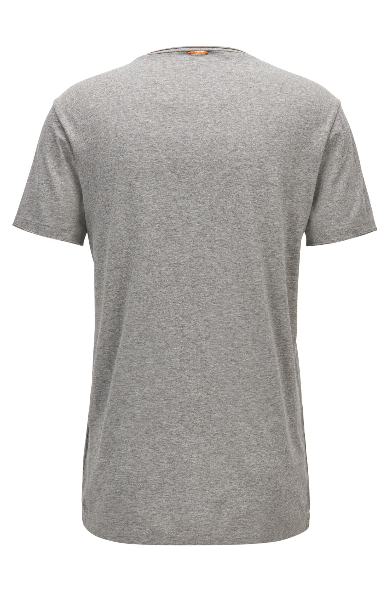 Regular-fit T-shirt with raw-cut detail, Grey