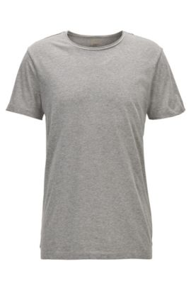 T-shirt Regular Fit avec détail à bord franc, Gris chiné