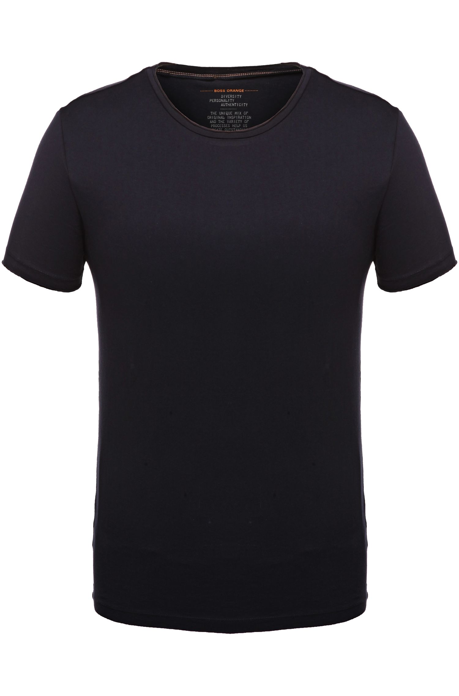 Regular-fit T-shirt with raw-cut detail