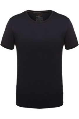 Regular-fit T-shirt with raw-cut detail, Dark Blue