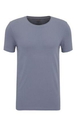 Regular-Fit T-Shirt mit offenen Abschlüssen , Blau