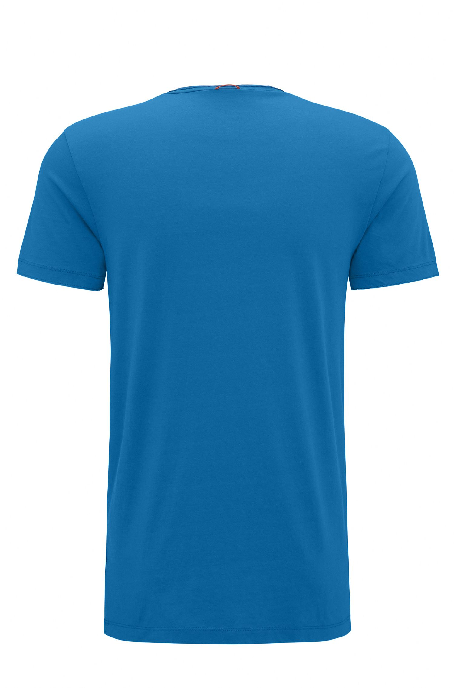T-shirt regular fit con finitura a taglio vivo, Blu