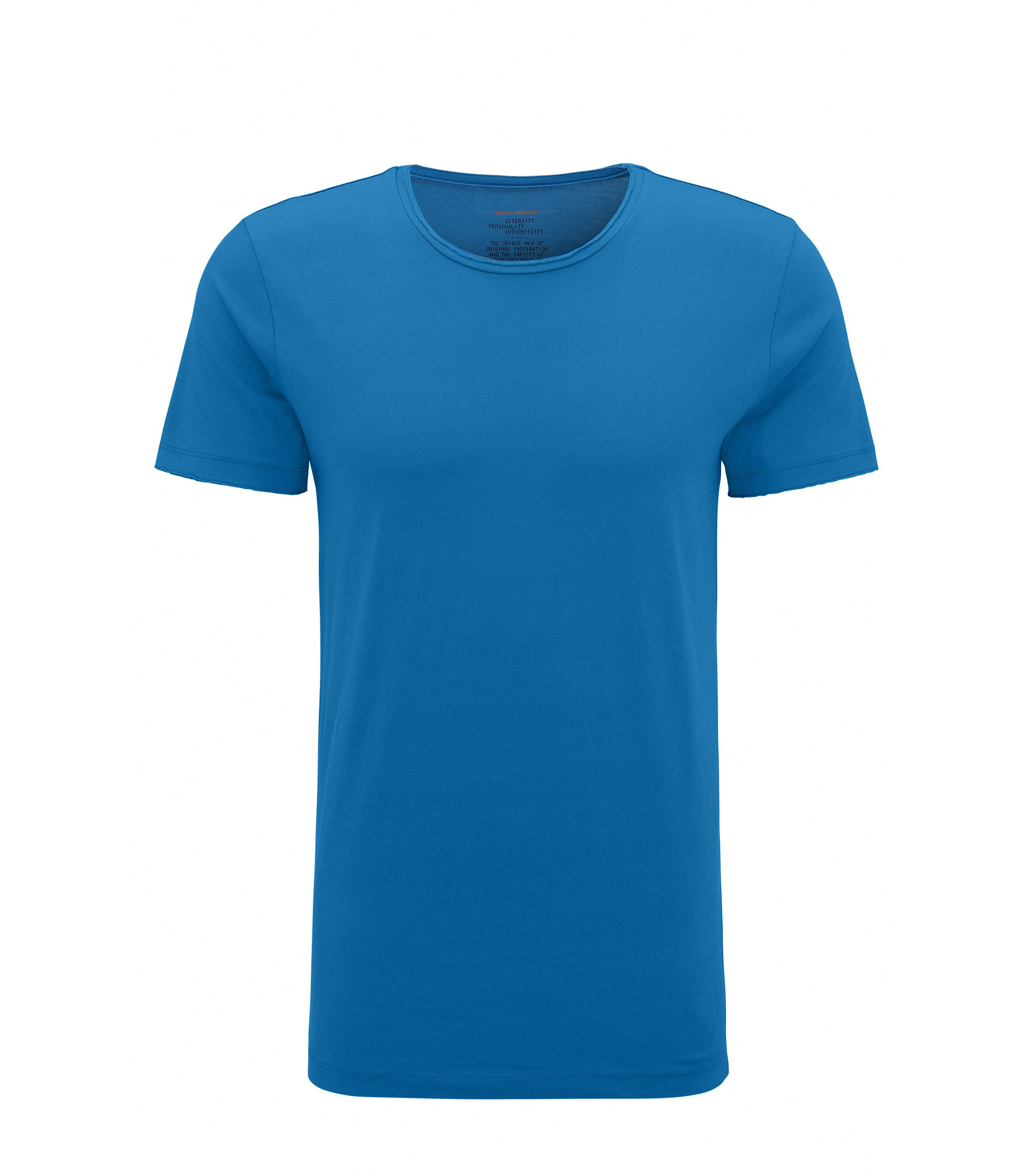 Regular-fit T-shirt with raw-cut detail, Blue