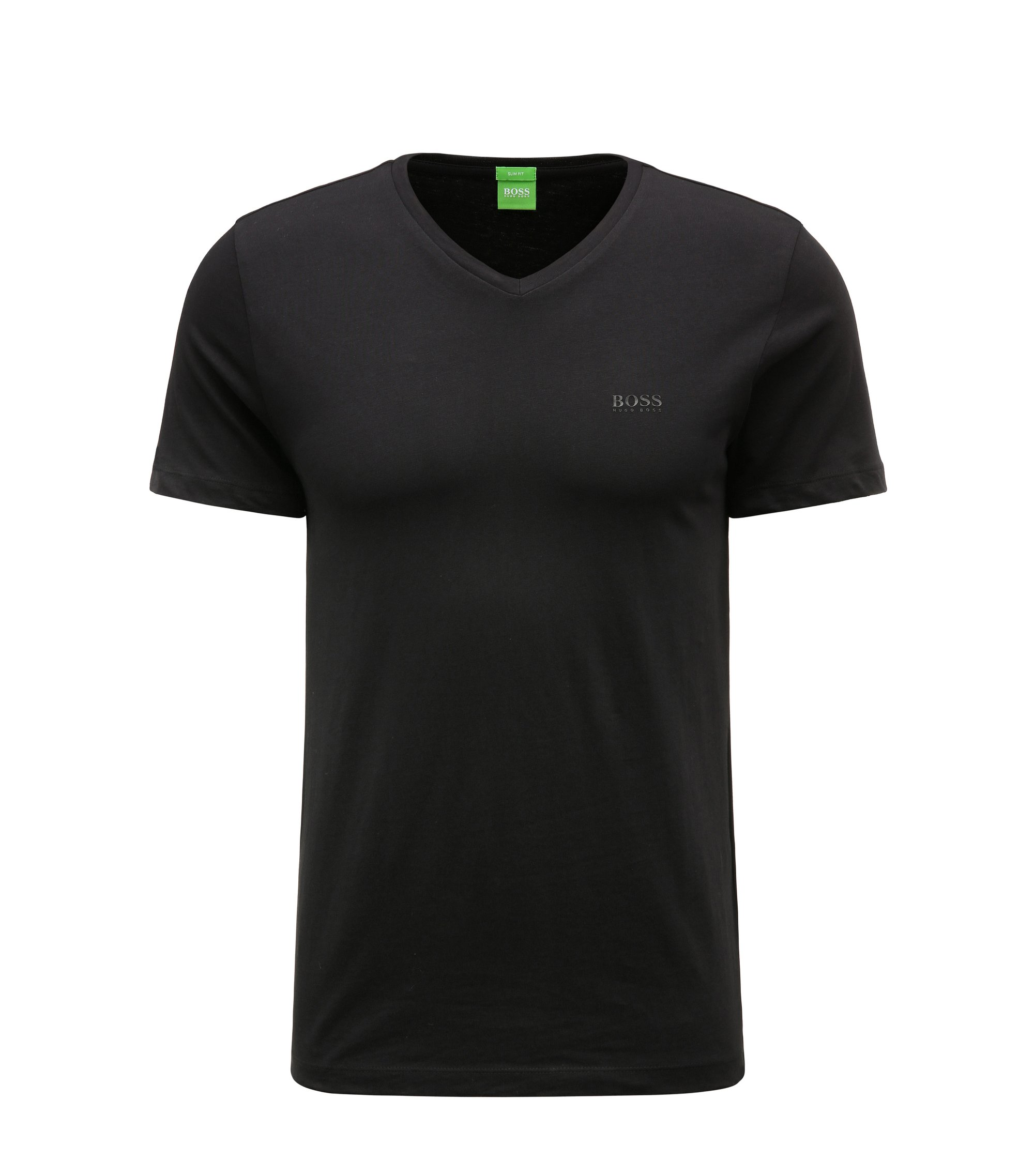 T-shirt slim fit in morbido jersey singolo, Nero