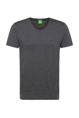 T-shirt Slim Fit en doux jersey simple, Gris