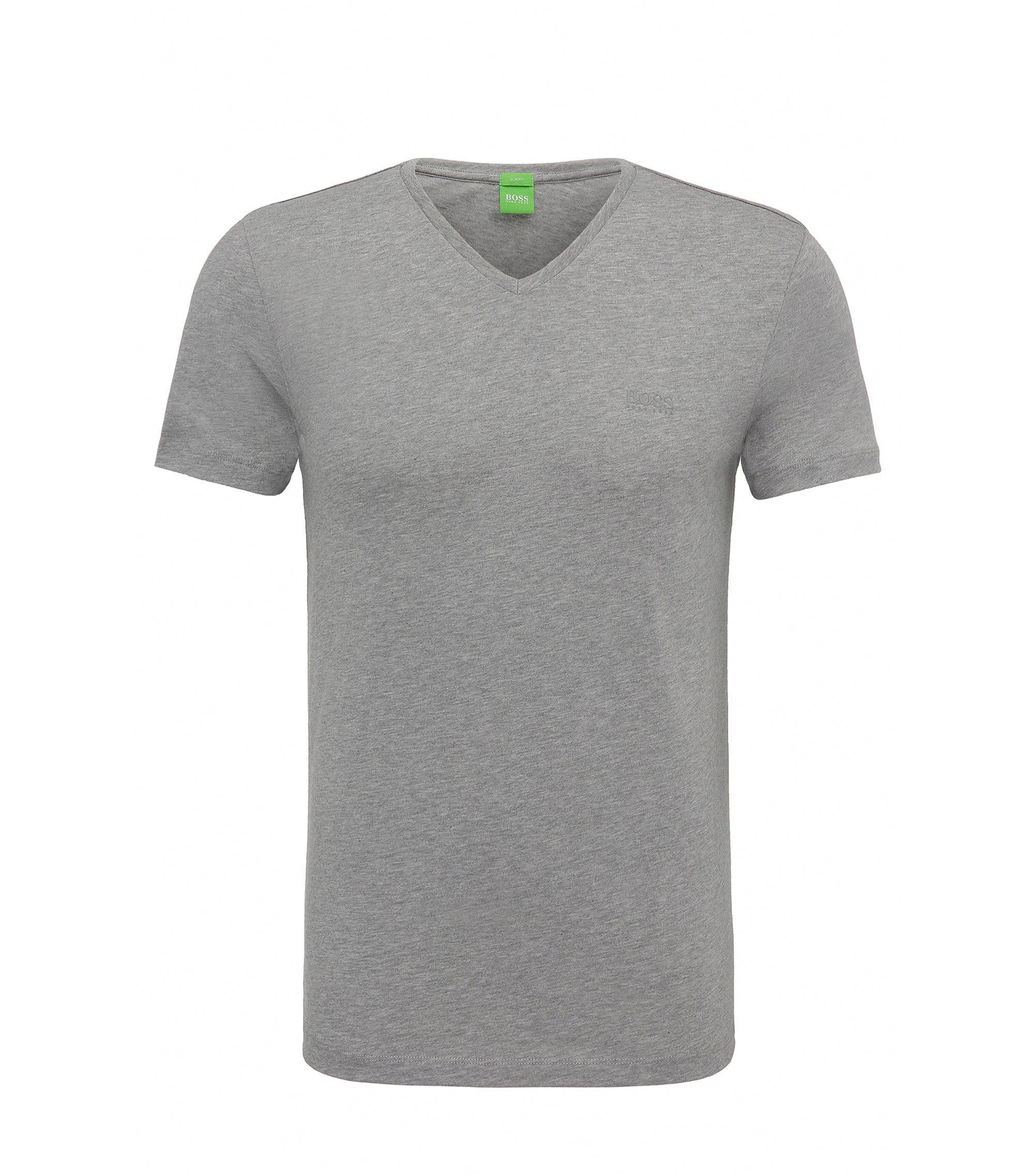 Slim-fit T-shirt van zachte singlejersey, Lichtgrijs