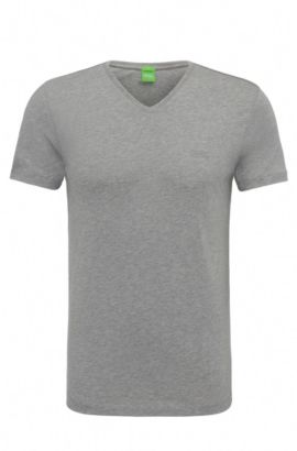 Slim-fit T-shirt in soft single jersey, Light Grey