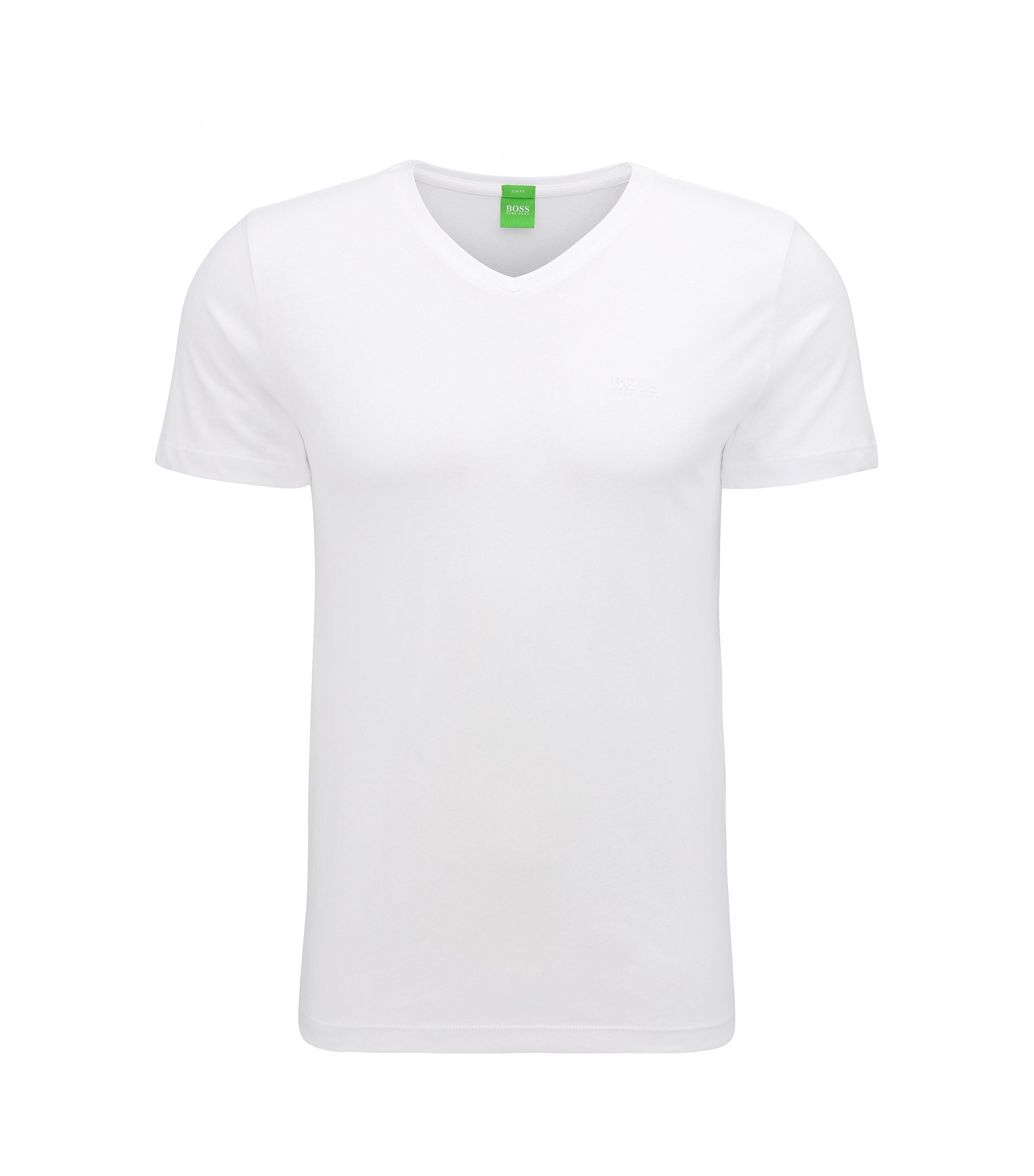 T-shirt slim fit in morbido jersey singolo, Bianco
