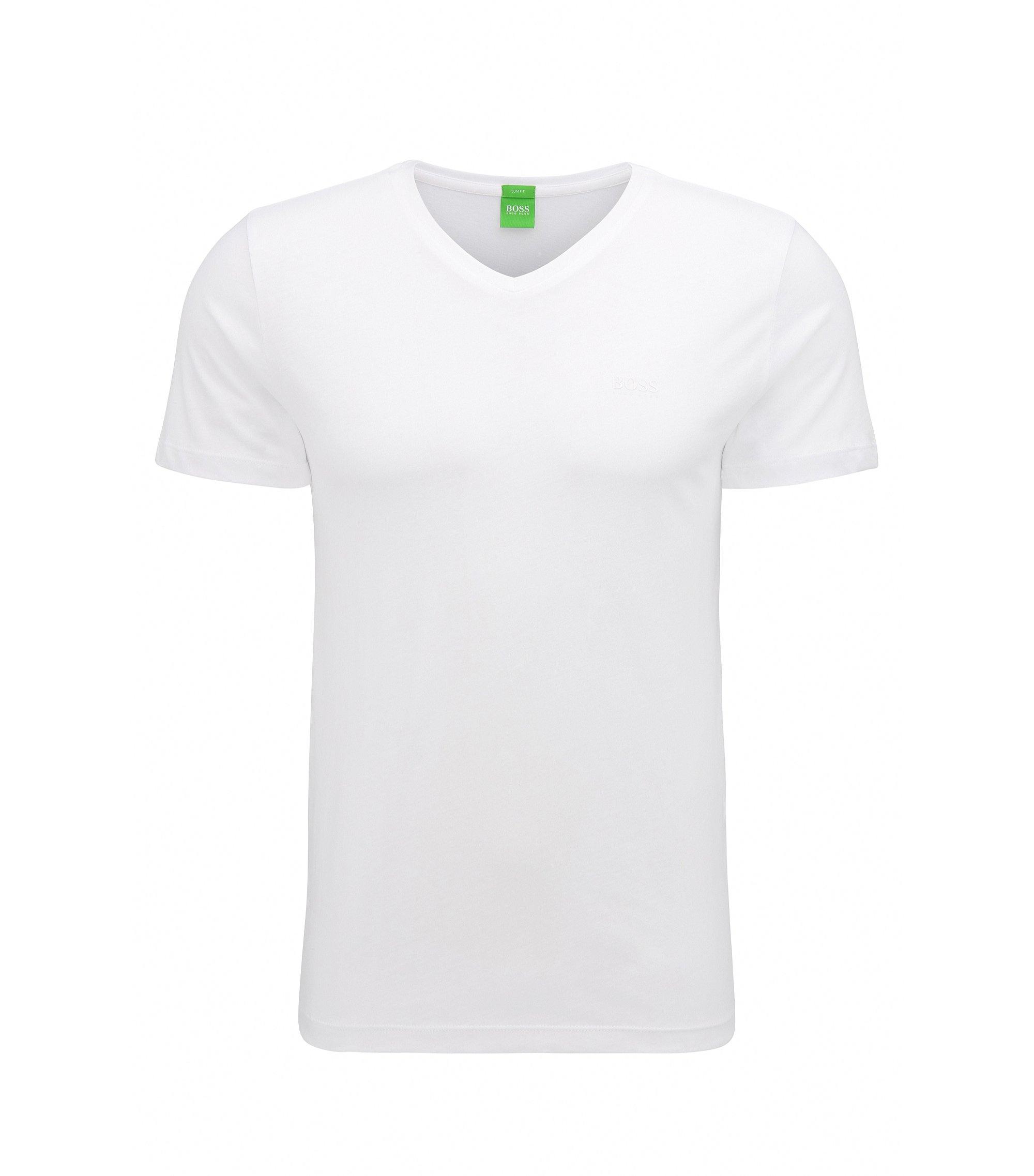 Slim-Fit T-Shirt aus weicher Baumwolle von BOSS Green, Weiß
