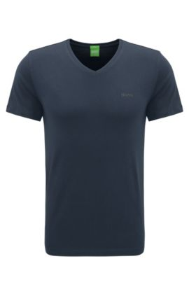 Slim-fit T-shirt in soft single jersey, Dark Blue