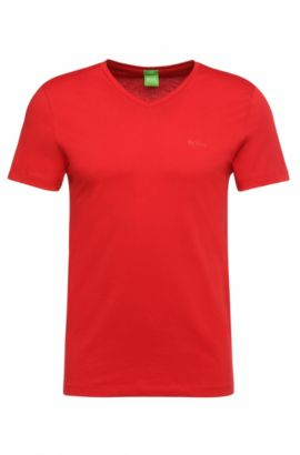 T-shirt Slim Fit en doux jersey simple, Rouge
