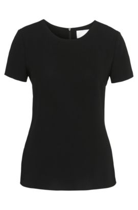 Gently tailored crepe top by BOSS Womenswear Fundamentals, Black