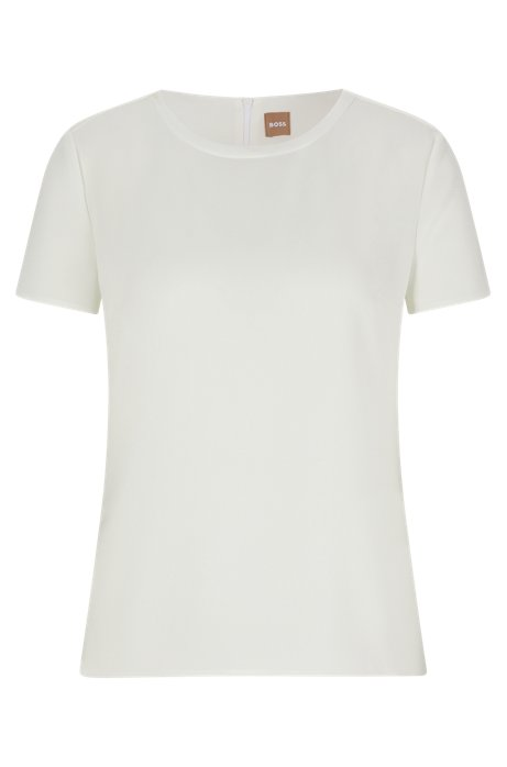 Gently tailored crepe top , Natural