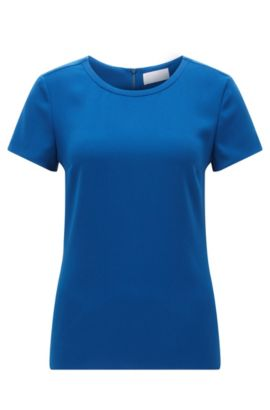 Gently tailored crepe top by BOSS Womenswear Fundamentals, Blue