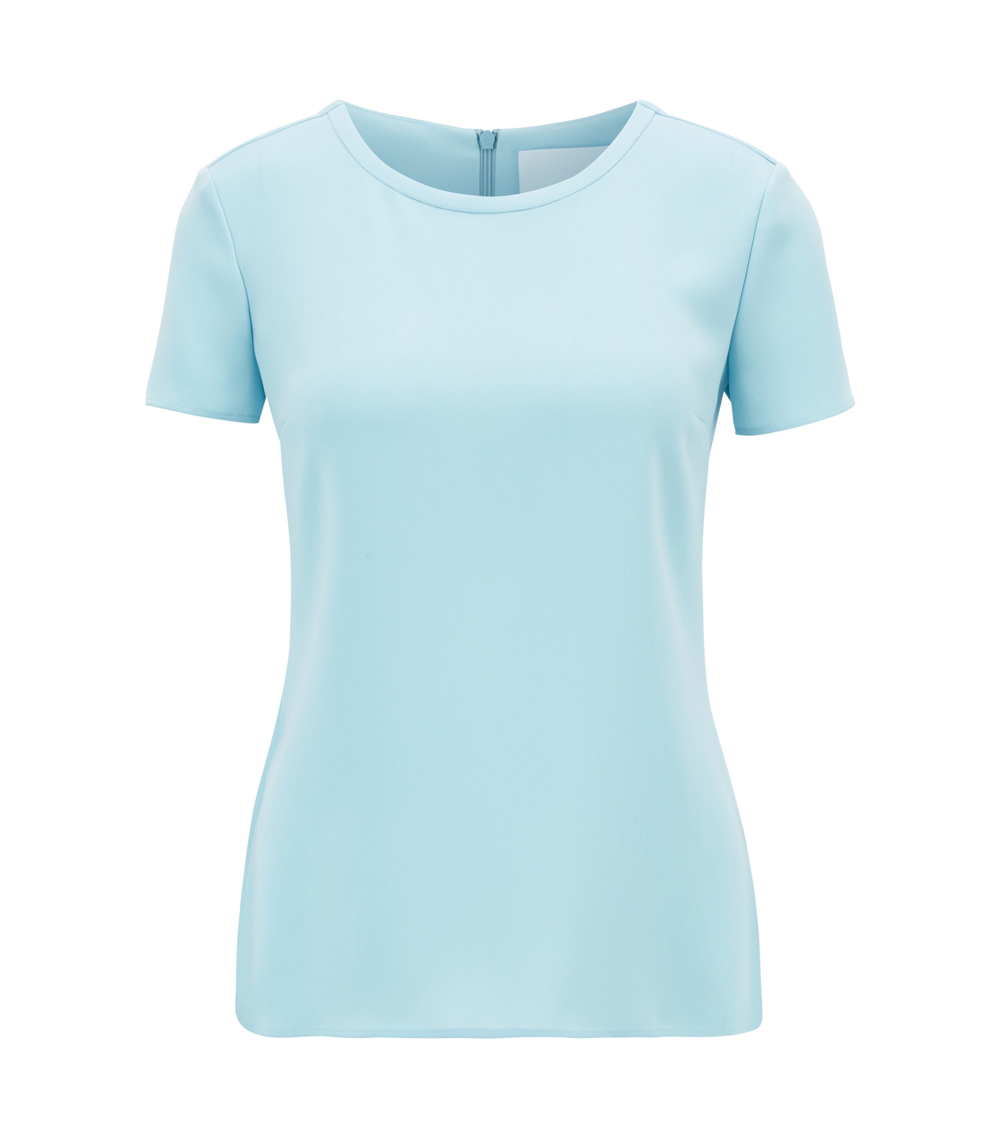 Gently tailored crepe top , Light Blue