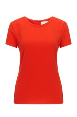 Gently tailored crepe top by BOSS Womenswear Fundamentals, Red