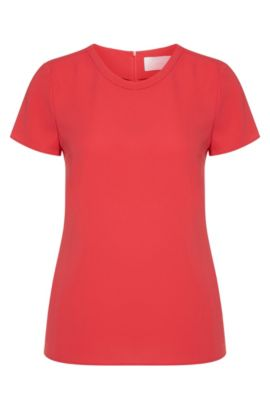 Gently tailored crepe top by BOSS Womenswear Fundamentals, Dark pink