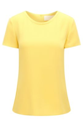 Gently tailored crepe top by BOSS Womenswear Fundamentals, Yellow