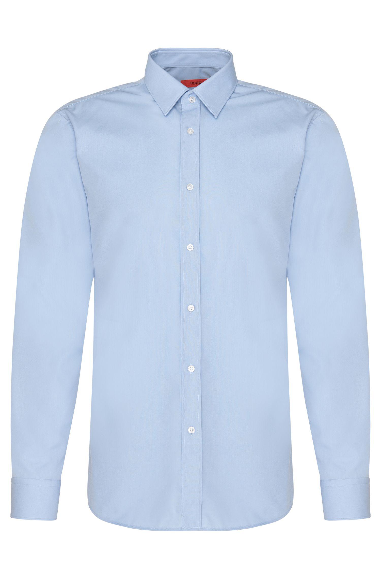 Unifarbenes Slim-Fit Hemd aus Baumwolle: 'Elisha01'