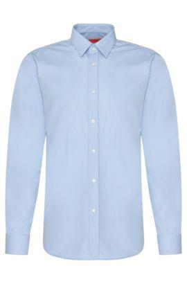 Unifarbenes Slim-Fit Hemd aus Baumwolle: 'Elisha01', Hellblau
