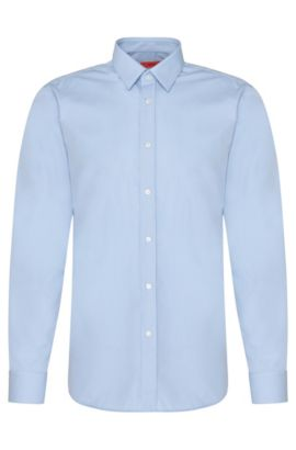 Plain slim-fit cotton shirt: 'Elisha01', Light Blue