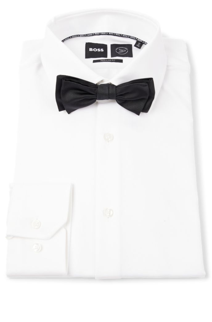 Satin bow tie in silk jacquard
