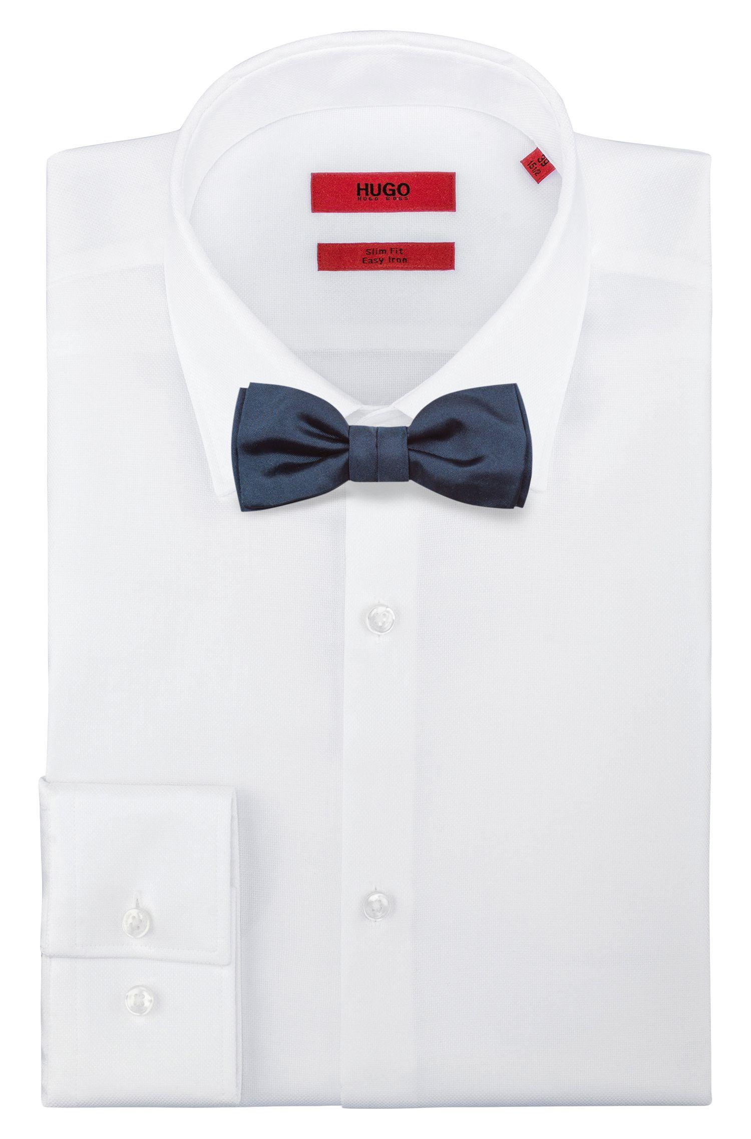 Jacquard bow tie in pure silk , Dark Blue