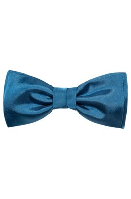 Satin bow tie in silk jacquard, Blue