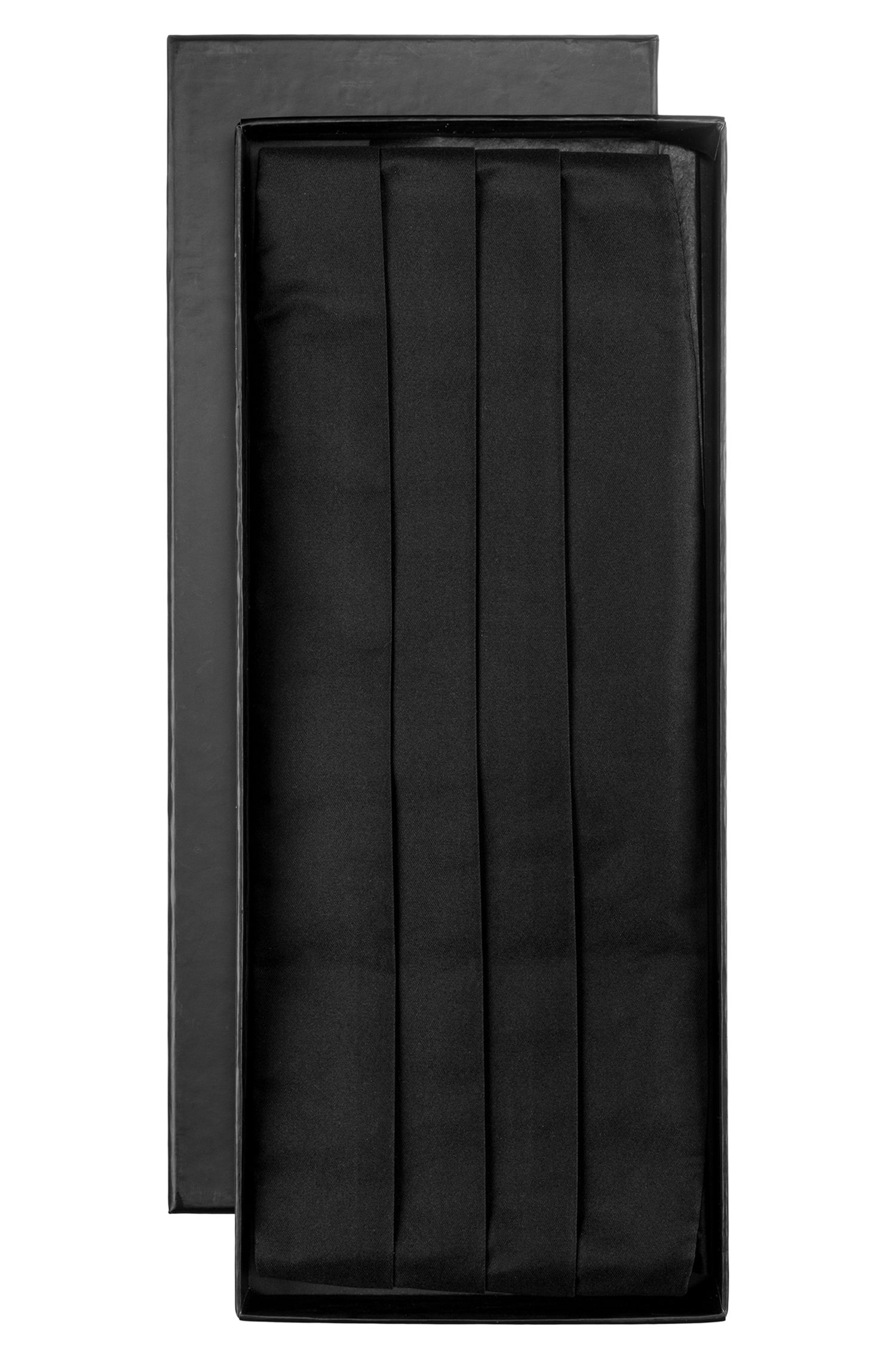 Pleated silk cummerbund in gift box, Black