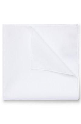 Pocket square in cotton poplin, White