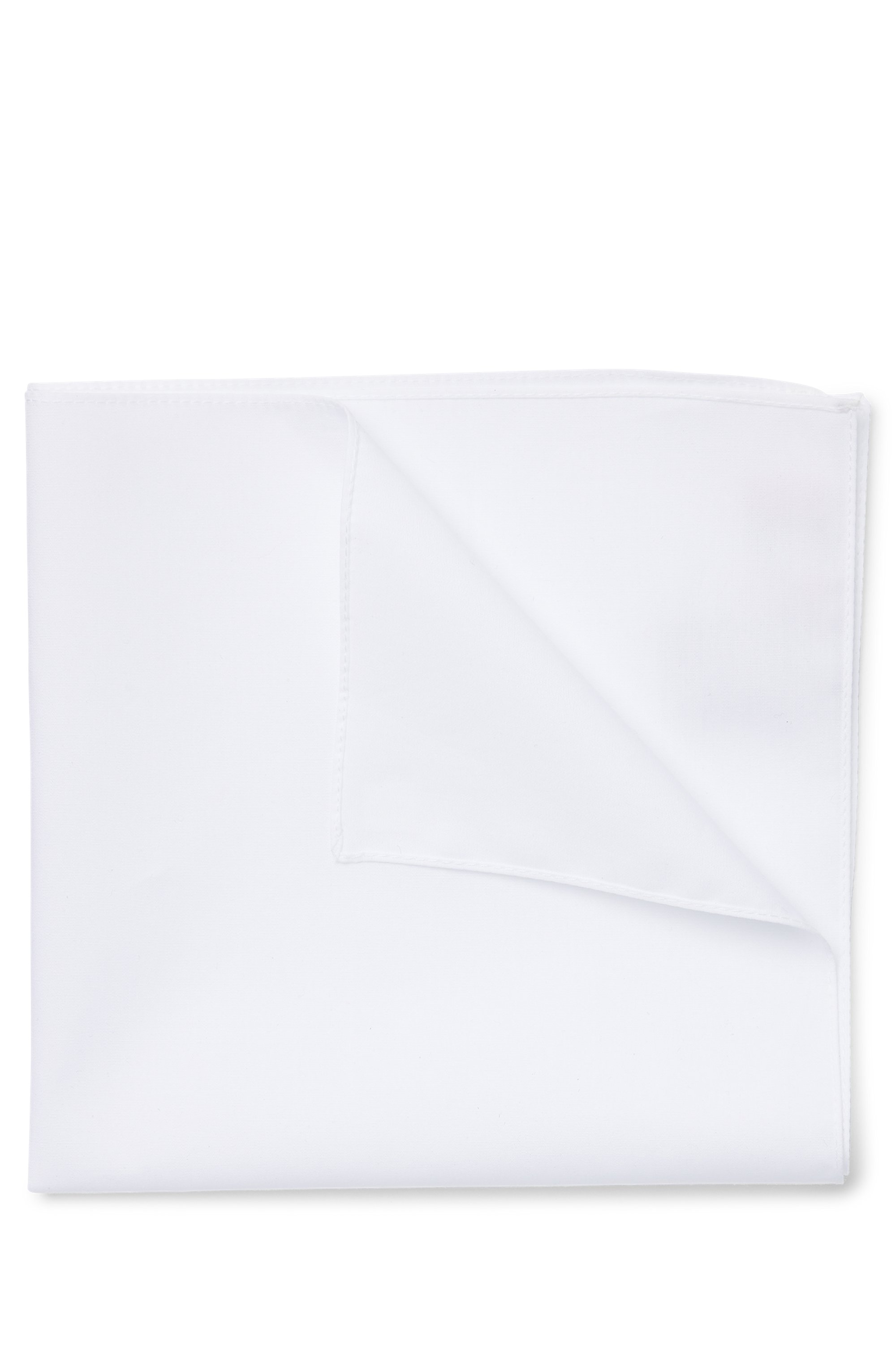Pocket square in cotton poplin, White