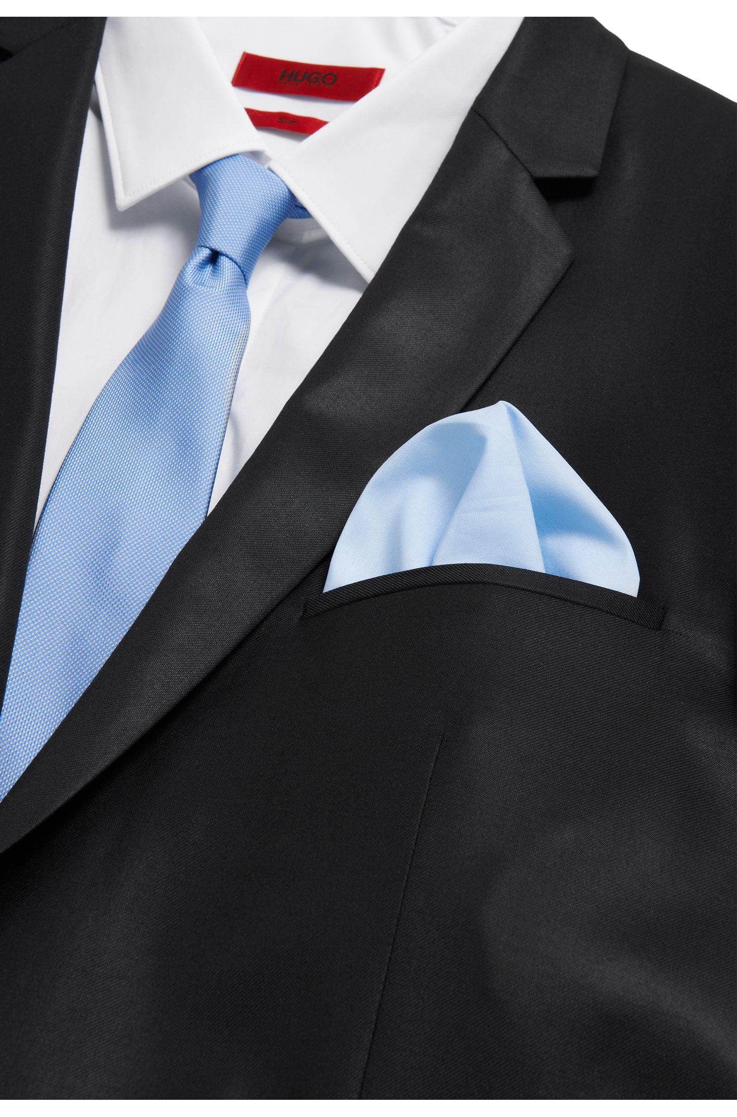 Cotton poplin pocket square , Light Blue