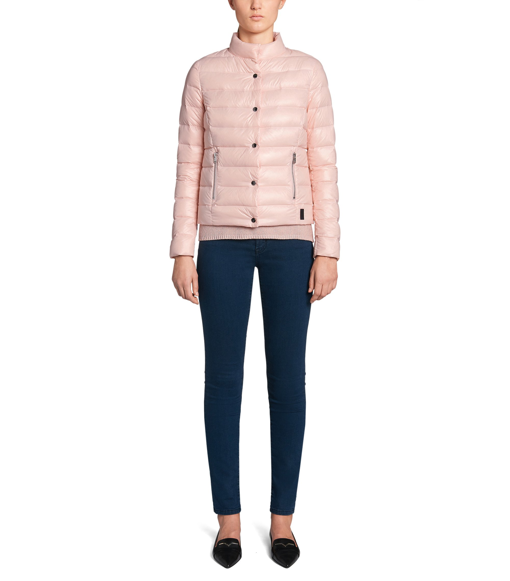 Fitted and quilted jacket with down: 'GR-Fawani-SPW', light pink