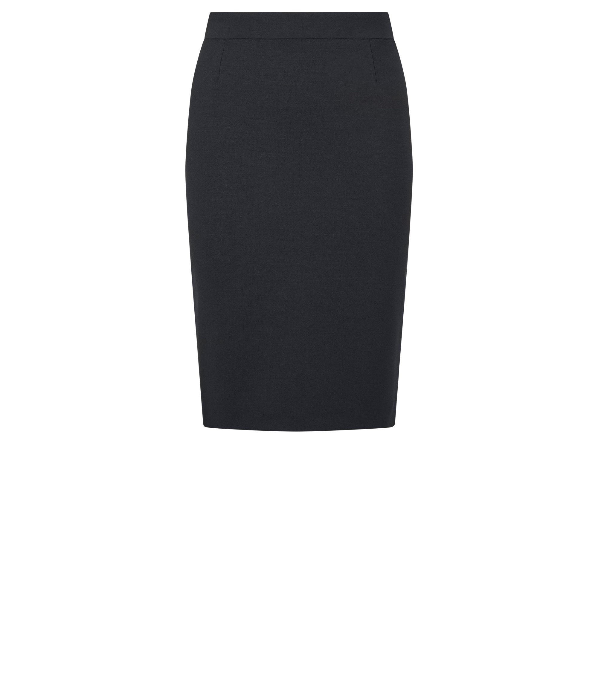 Stretch wool slim-fit pencil skirt , Black