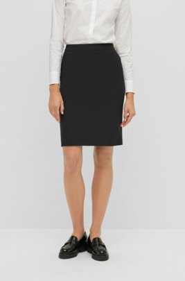 Pencil skirt in Italian stretch virgin wool, Black