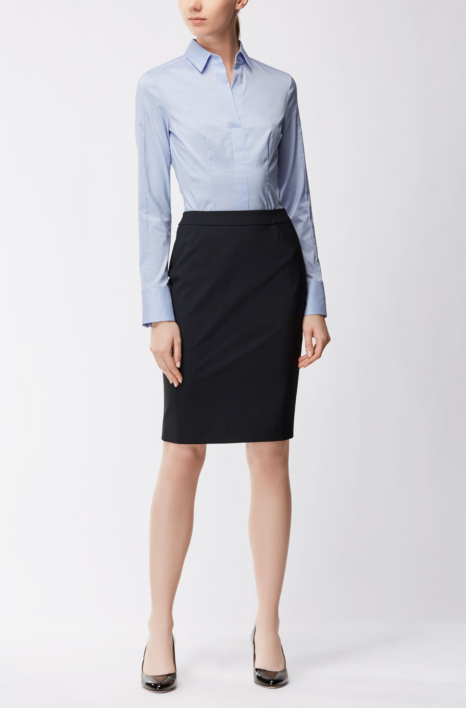 Falda lápiz slim fit en lana elástica , Azul oscuro