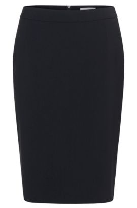 Stretch wool slim-fit pencil skirt , Dark Blue