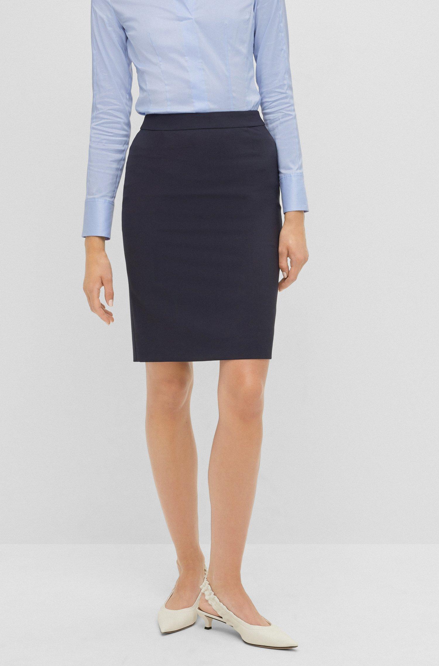 Pencil skirt in Italian stretch virgin wool, Dark Blue