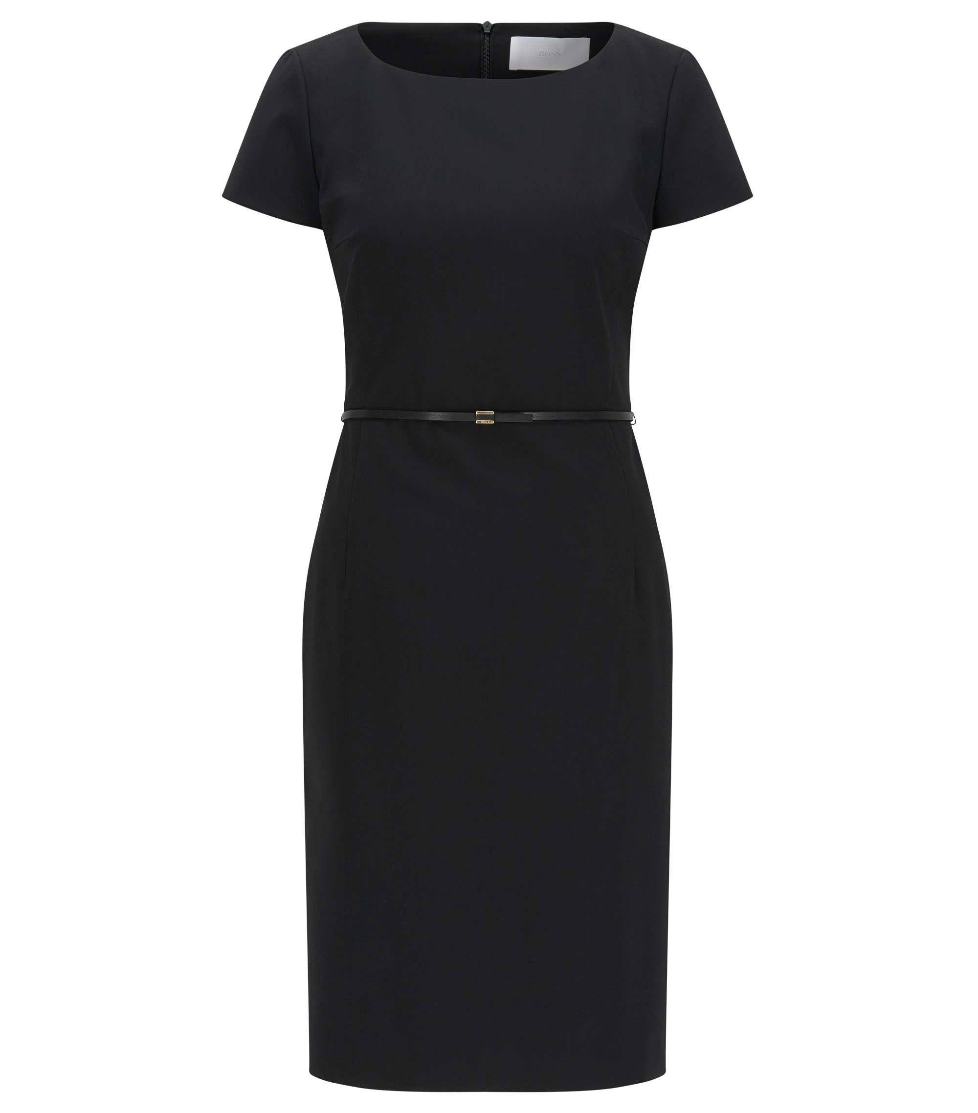 Stretch wool shift dress with tailored waist , Black