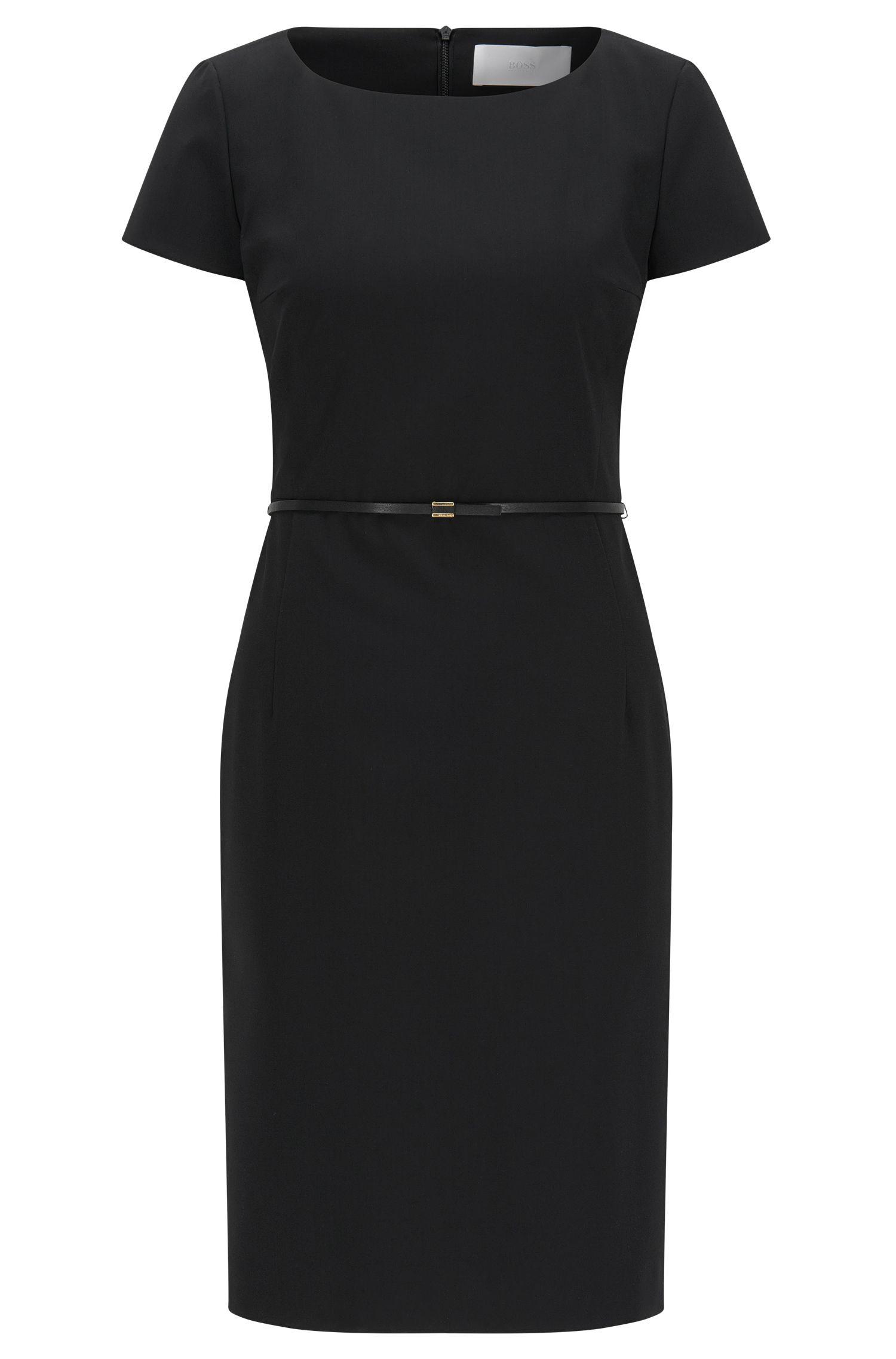 Vestido recto de lana elástica con cintura entallada de la colección de básicos de BOSS Mujer