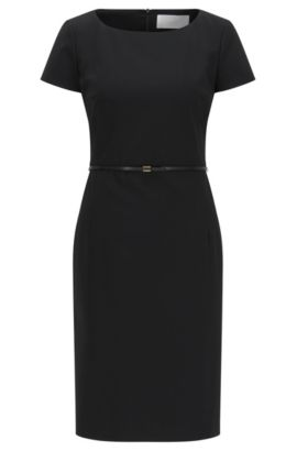 Stretch wool shift dress with tailored waist by BOSS Womenswear Fundamentals, Black