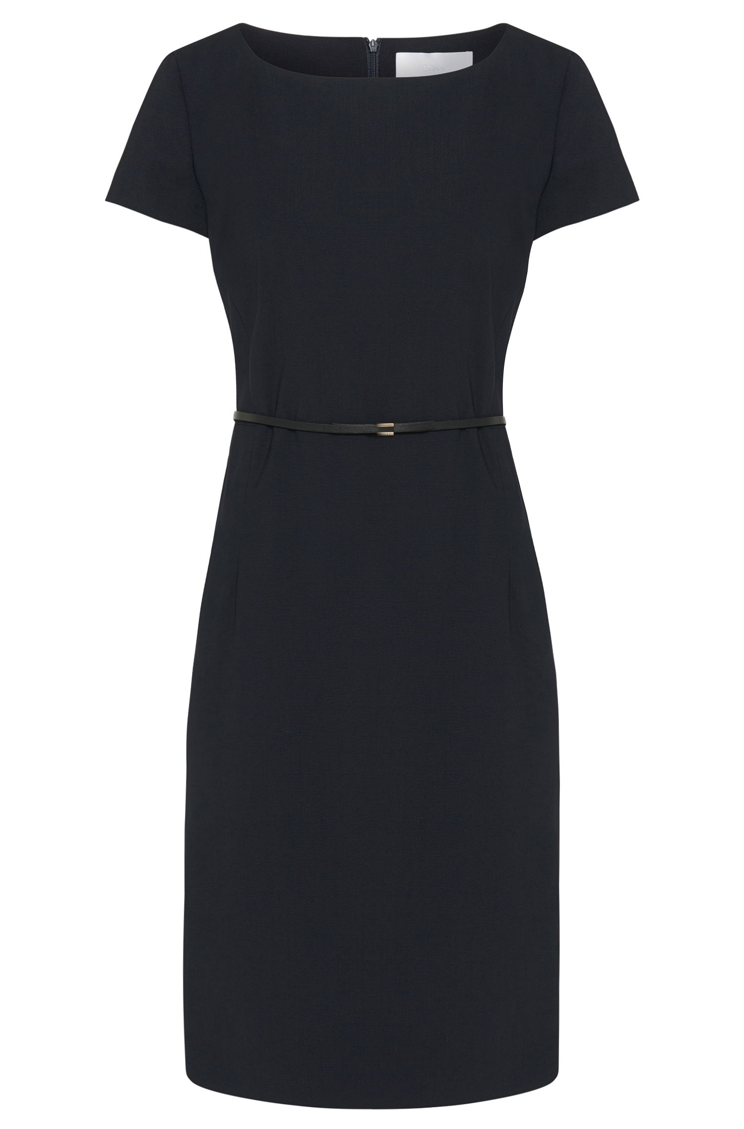 Stretch wool shift dress with tailored waist , Dark Blue
