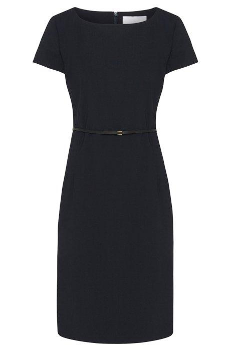 Stretch wool shift dress with tailored waist , Dark Blue