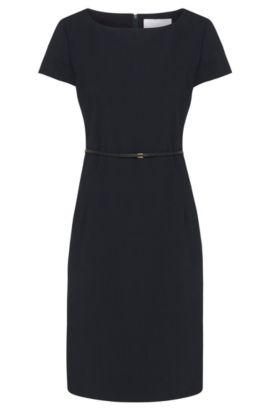 Elegantes Business-Kleid aus Schurwolle mit Stretch-Anteil , Dunkelblau
